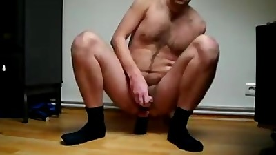 mature man dildoing front and back