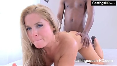 Busty blonde MILF first time..
