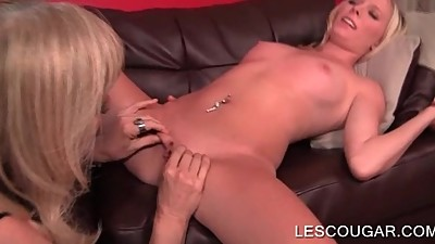 Horny cougar having lesbian hot sex..