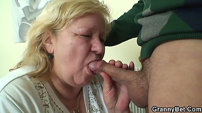 Huge old grandma sucks and rides young..