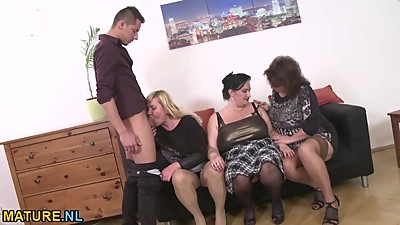 Three amateur mature ladies sharing a..