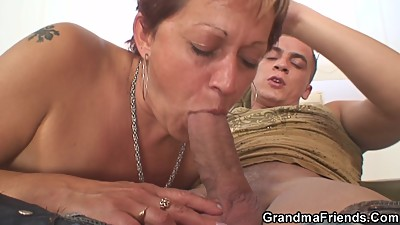 Hot old lady takes two cocks at once