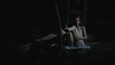 Fucking A Dildo Outdoors At Night..