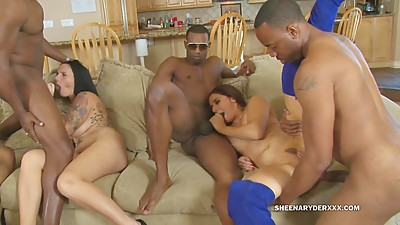 Sheena Ryder has a BBC Orgy with her..