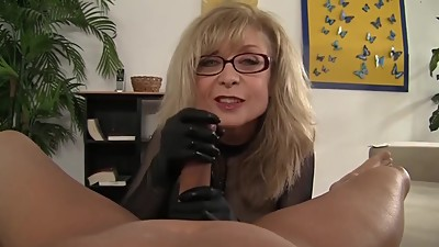mommy handjob with latex gloves