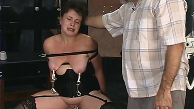 Two old guys torture mature brunette..