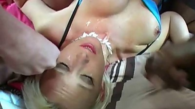 Sexy UK MIlF gets gangbanged