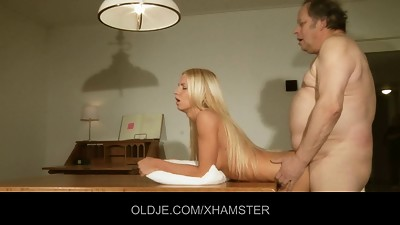 Dirty oldman is fucked by a hot young..