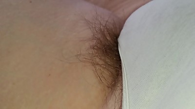 more long pubes hanging from white..