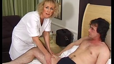 Skinny Blonde Granny Gets Creampie and..
