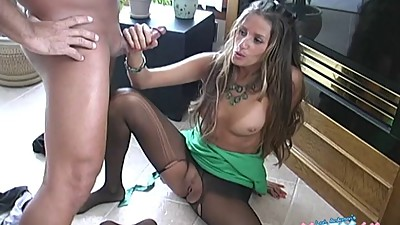 Pantyhose footjob and handjob
