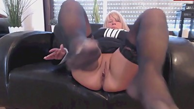 Mature german blonde solo footjob in..