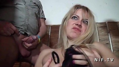 Horny french milf hard double..