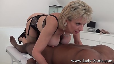 Lady Sonia black guy massage with..
