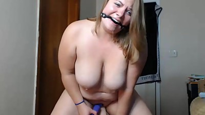 Mouth gagged dildo ride 2