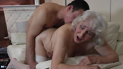 Granny with hairy cunt having sex with..