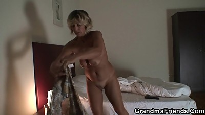 Blonde old mature swallows two young..
