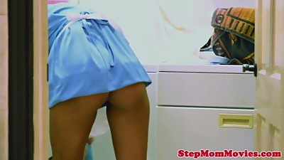 Busty stepmom doggystyled while eating..