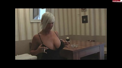 Horny MILF flashes her tits &..