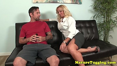 Busty milf seduces and jerks