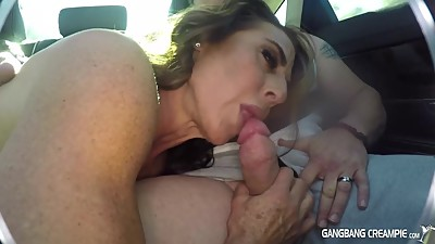 Fitness Milf gives road head in back..