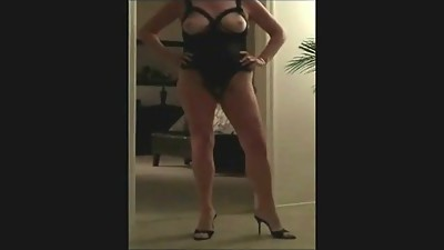 Hot granny teasing in sexy lingerie..