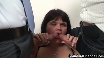 Mature fatty takes two cocks after..